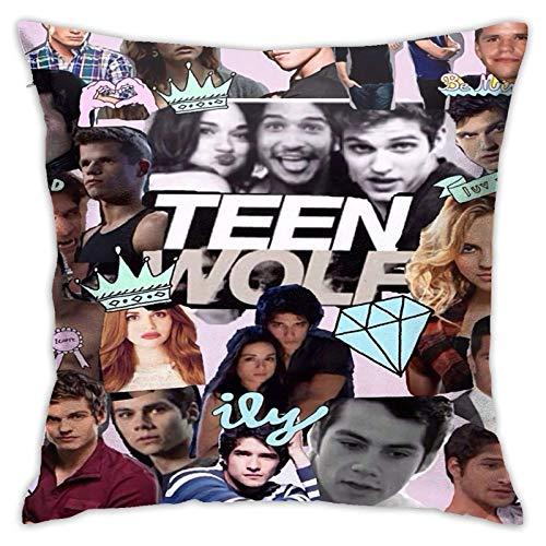 Tengyuntong Throw Square Throw Pillow Cover/Funda de Almohada Teen-Wolf Plush Soft Square Throw s 18x18 Pulgadas Adecuado para sofá Cama de Coche