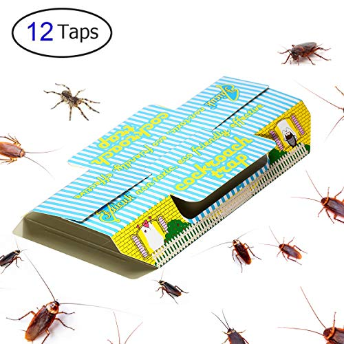Faicuk Cockroach Trap Sticky with Bait Non-Toxic and ECO-Friendly - 12 Pack