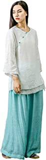 KSUA Womens Tai Chi Clothes Zen Meditation Uniform Silk Cotton Kung Fu Clothing