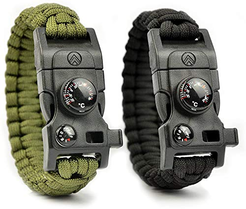 7-in-1 Survival Paracord Armband mit Multitool, Feuerstahl, Kompass, Signalpfeife, Minimesser und Thermometer