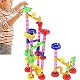 Filfeel Set da Corsa in Marmo per attività per Bambini, assemblaggio Fai-da-Te per Bambini Kid Corsa in Marmo Corsa in Labirinto Blocchi di tracciati educativi Giocattolo per Bambine(80PCS)