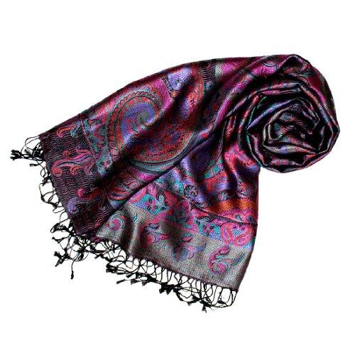 LORENZO CANA Luxus Pashmina Damenschal Schaltuch jacquard gewebt 100% Seide 70 cm x 190 cm Paisley Muster Seidenschal Seidentuch Seidenpashmina harmonische Farben, Violett, 70 x 200 cm