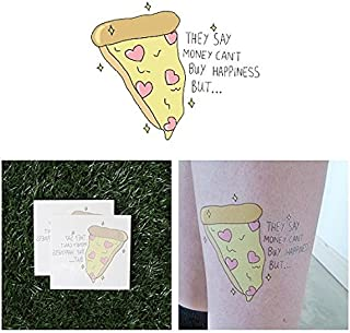 Tattify Pizza And Hearts Temporary Tattoo - Love and Pizza (Set of 2) - Other Styles Available - Fashionable Temporary Tattoos - Long Lasting and Waterproof