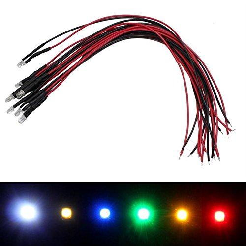 10x Superhelle LEDs 3mm für 5V ; 20cm Kabel ; Kalt Weiß 6000K