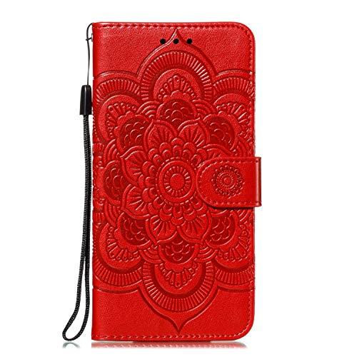 GIMTON Stoßfest Hülle für Galaxy Note 10, Brieftasche Klapphülle mit Geldfach und Kartenfach, Premium Magnetischen PU Leder für Samsung Galaxy Note 10, Rot