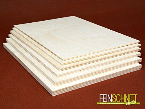 Birkensperrholz (300 x 210 x 5 mm, 4 Stück)