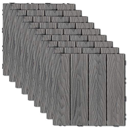 Ecoopts 12'x12'x7.9' Deck Tiles Wood Patio Pavers Flooring Interlocking Composite Tile for Indoor Outdoor Decking 9 Slat 1 Pack Grey
