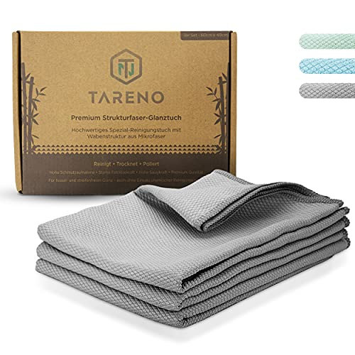 TARENO® Premium Fenstertuch streifenfrei [3er Set] - Mikrofaser Fensterputztuch für Hochglanz - Scheibentuch mit Wabenstruktur - Reinigungstuch für Glatte Flächen - Glas, Auto, Edelstahl