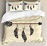 Ambesonne Arrows Duvet Cover Set, Arrow in Ethnical Pattern with Feathers Native Tribal Design Print, Decorative 3 Piece Bedding Set with 2 Pillow Shams, King Size, Beige Black