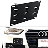 DEWHEL JDM Front Bumper Tow Hook License Plate Mount Bracket Holder Screw on for Audi A4 S4 B8 A5 A7 S5 S7 RS5 RS7