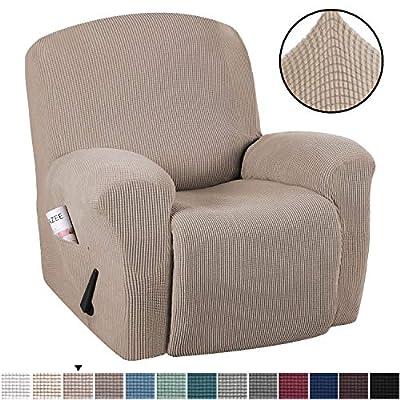 H.VERSAILTEX Stretch Recliner Slipcovers 1-Piece Durable Soft High Stretch Jacquard Sofa Furniture Cover Form Fit Stretch Stylish Recliner Cover/Protector (Recliner, Sand)