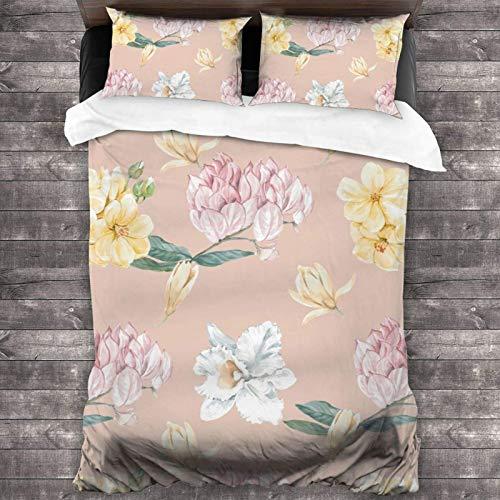 AEMAPE 86'x70' Juego de Cama Microfibra 100% Suave Flores tailandesas Bedding Sábanas Pareja DE Almohadas