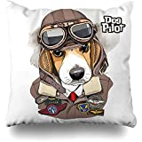 Throw Pillow Case Aviator Brown Dog Beagle Helmet Leather Jacket Fly Wildlife Funny Goggles Hat Air Design Old Home Decor Zippered Cushion Cover Square Size 18'x18' Sofa Pillowcase