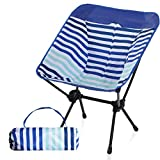 Camping World Portable Compact Ultralight Camping Folding Chairs with Aluminum Frame for Outdoor, Camping, Hiking(Blue Stripe)