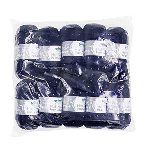 Gründl Hot Socks Pearl Uni, Vorteilspack 10 Knäuel à 50 g Sockenwolle, 75% Wolle (Merino Superwash), 20% Polyamid, 5% Kaschmir, Marine, 40 x 37 x 11 cm