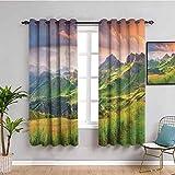 Cortina de baño para decoración del lago de la casa con cortinas opacas, paisaje de verano de los Alpes italianos al atardecer prado serenidad en la naturaleza, verde y blanco de 72 x 72 pulgadas
