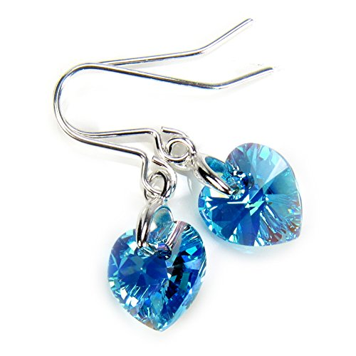 Black Moon Light Blue Aquamarine AB Crystal Small Heart Short Drop Earrings with Silver Earwires for March Birthstone - made with Crystal from Swarovski