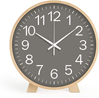 Maxspace Wall Clock Wood Round 8 Inch Decorative Either as Wall Clock or as Desktop Clock Battery Operated Non Ticking for...
