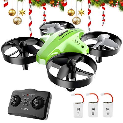 ATOYX Mini Drone, AT-66C RC Drone Niños 3D Flips, Modo sin Cabeza, Estabilización de Altitud, 3 Modos de Velocidad, 4 Canales 6-Ejes, 3 Baterías, Regalo para Niños y Principiantes (Verde)