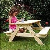 Table de pique-nique / banc d'extérieur terrasse / jardin en bois pour enfants