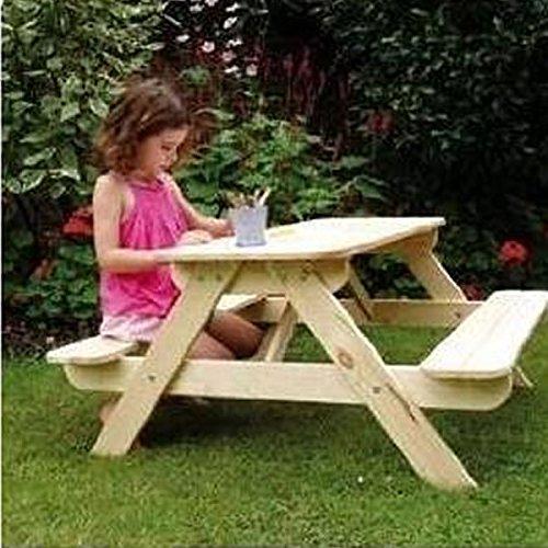 Table de pique-nique/banc d'extérieur terrasse/jardin en bois pour enfants
