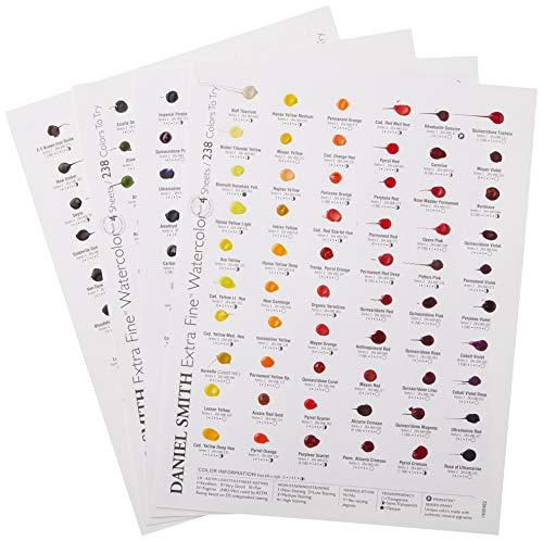 DANIEL SMITH 238 Watercolor Dot Color Chart, 4 Sheets, 1900482