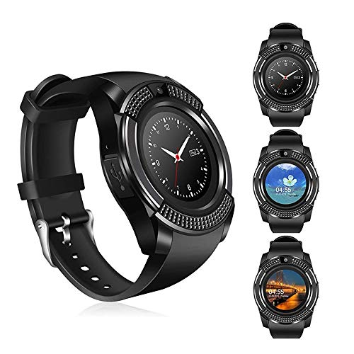 KDSFJIKUYB Smartwatch V8 Smart Watch Armband Kamera Fitness Tracker SIM/TF Bluetooth Dial/Antwort Schlaf Monitor Smartwatch für Android IOS VS Y1 Q18, schwarz