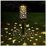 ZHMIAO Lámparas solares LED de hierro forjado con forma de estrella hueca, luz de césped, luz de jardín, antorcha para patio, césped, iluminación de Navidad