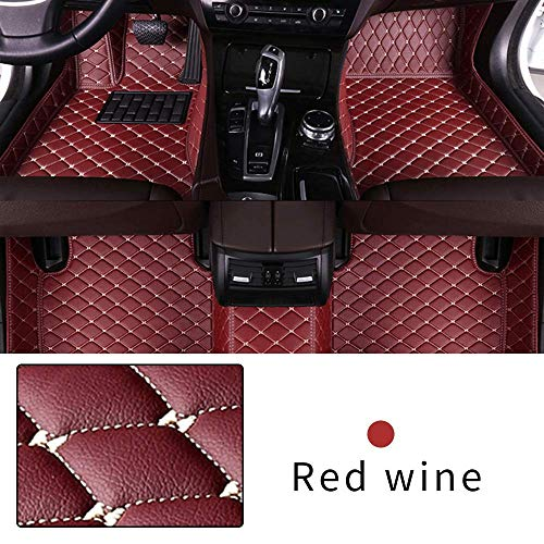 Car Floor Mat Custom Made For 95% of Car Models Full Coverage Interior Protection Waterproof Non-Slip Leather Mat Red Wine