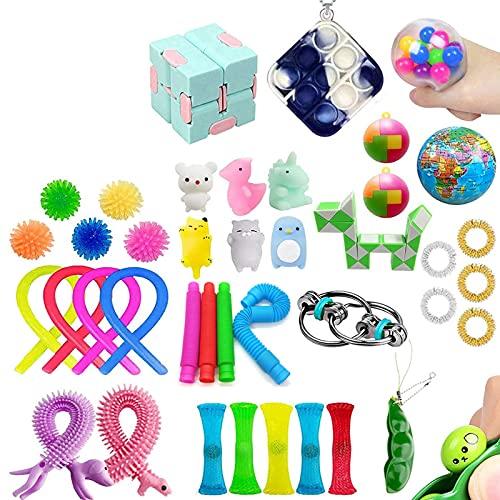Sensory Fidget Toys Set,Push pop pop Autism Special Dimple Sensory Toys Sets for Kids Adults,Stocking Stuffers,School Classroom Rewards Carnival Party Treasure Box Prizes (D, OneSize)