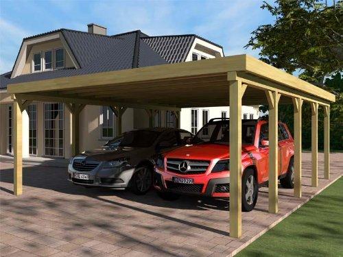 Carport Flachdach SILVERSTONE VI 600x700 cm Bausatz Flachdachcarport