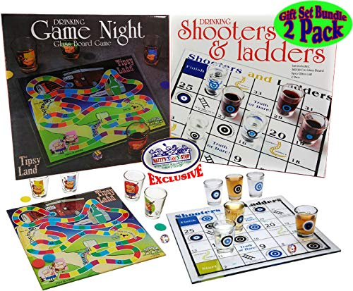 Matty's Toy Stop Deluxe Drinking Games Tipsy Land and Shooters & Ladders Gift Set Bundle - 2 Pack (Includes Glass Boards, Shot Glasses & Dice)