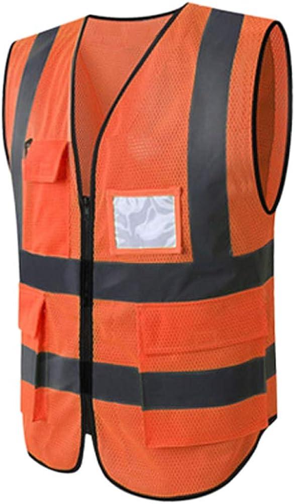 Hycoprot Chaleco de seguridad Reflectante Hi Vis Viz Alta visibilidad Ropa de trabajo Gerente ejecutivo Chaqueta de chaleco Cremallera Brace Seguridad Teléfono móvil Titular de ID de bolsillo