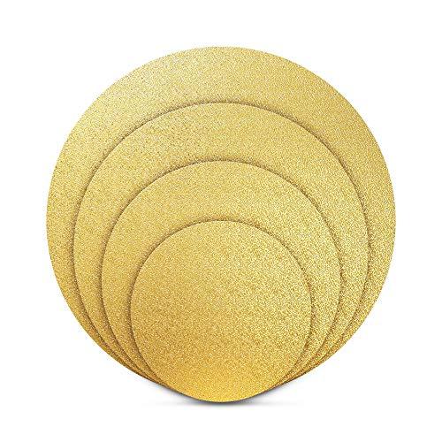 BACKHERZ Premium Cake Board Rund 4er Set - Ø 15 + 20 + 25 + 30cm - Kuchenplatte Tortenunterlage Tortenplatte - 3mm Dick - Lebensmittelecht | Für Transport und Deko (Gold)