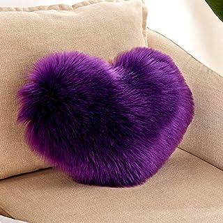Generies Funda de almohada de felpa con forma de corazón con cremallera para coche, regalo para decoración de sofá