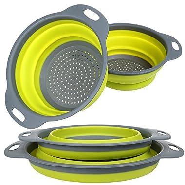 Colander Set, Food Grade Silicone Kitchen Strainer Set of 2-11.5  and 9.7  Size Folding Strainer with Steady Base, BPA Free, Dishwasher-Safe for Draining Pasta, Vegetable, Fruit (Green)