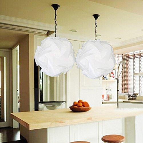DIY Lámpara Sombra Puzzle,AZXES, Lámpara de Techo del Puzzle IQ Tulipa,Lámpara colgante Moderno del Diametro 30cm,Color Blanco