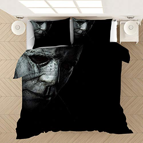 ZYNYHGS Michael Myers película Juego de Ropa de Cama con Funda nórdica para Adultos y jóvenes, impresión en 3D Suave y cómoda Funda nórdica Ropa de Cama Textiles para el hogar-F_135x200cm (2pcs)