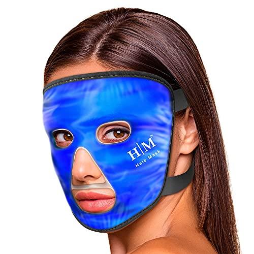 Masque Visage Froid Halo - Masque Visage Soin Froid et Compresse Chaude Dégonfle Peau et Yeux – Soin Visage Idéal pour Soulager Stress, Migraine, Douleurs et Enflures - Masque Froid Visage en Gel