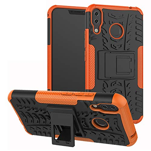 Labanema ASUS Zenfone 5Z ZS620KL Custodia, Kickstand Dual Layer Ibrida Rigida Morbido Armatura Resistente agli Urti con Supporto e asportabile di Protezione per ASUS Zenfone 5Z ZS620KL 6.2'' -Arancio