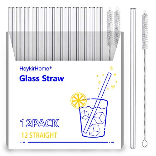 HeykirHome 12-Pack Reusable Glass Straw,Size 8''x10 MM,Including12 Straight with 2 Cleaning Brush- Perfect For Smoothies, Tea, Juice