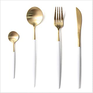 Jinsen Customized Stainless Steel Flatware Set for Home Kitchen Restaurant Hotel ( White + Gold)