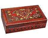 MilmaArtGift Handmade Wooden Lock Box w/Key Vintage Hearts Decorative Wood Box Large Heart Jewelry Keepsake Box