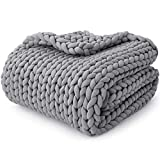 YnM Knitted Weighted Blanket, Hand Made Chunky Knit Weighted Throw Blanket for Sleep, Stress or Home Décor (French Silver, 60''x80'' 20lbs), Suit for One Person(~190lb) Use on Queen/King Bed