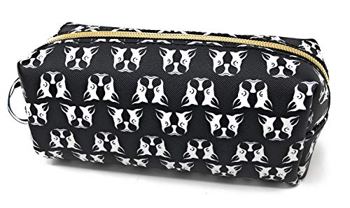 Dabney Lee Black/White French Bulldogs Zippered Clutch Makeup Organizing Travel Bag | 7X3X3 in
