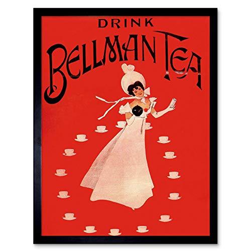 Wee Blue Coo Advert Bellman Tea Drink Retro Lady Dress Cup Art Print Framed Wall Decor 12X16 inch reclame Bere Jurk Manifesto muur