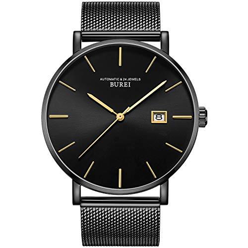 BUREI Hombres Relojes automáticos Minimalistas Cara Grande Gris dial Calendario Ventana con Banda de Acero Inoxidable de Negro