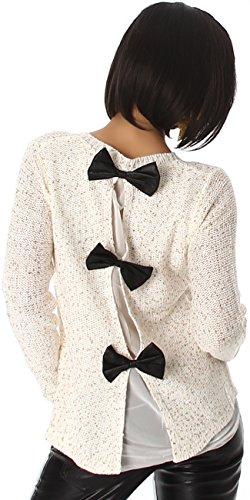 Jela London Damen Pailletten Pullover Schleife Glitzer Glanz Sweater Rücken-Schleife Chiffon-Netz, Weiß Gold 34 36 38