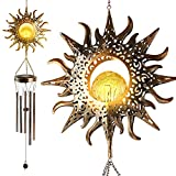 YNGRUE Sun Crackle Glass Ball Wind Chimes Solar Wind Chimes, Outside Hanging Waterproof Decor Romantic Sun Wind Chimes Lights Unique Memorial Gift for Yard Garden Home Party Patio Lawn