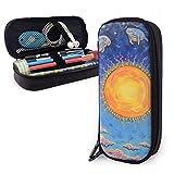 Sunset Manatee Kawaii Art Themed Pattern Mini School Estuche para lápices Estuche para lápices de oficina Estuche para bolígrafos con cremallera Conjunto de bolsos con cremallera de cuero Pu
